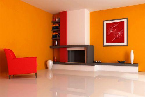 140平现代简约风格橙色客厅装修效果图