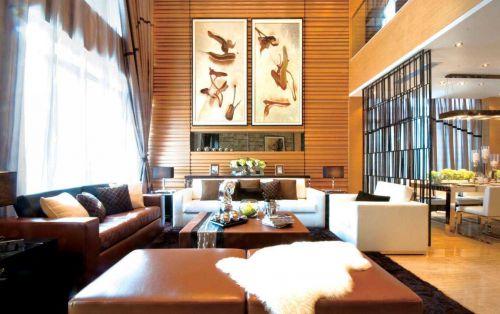 现代风格别墅客厅创意屏风效果图