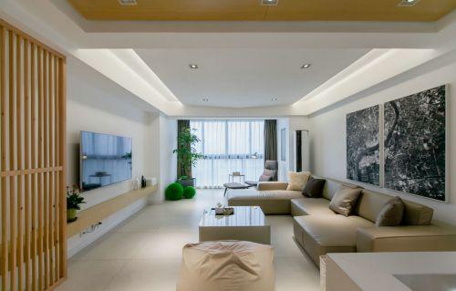 素净现代新中式风格客厅背景墙装修设计