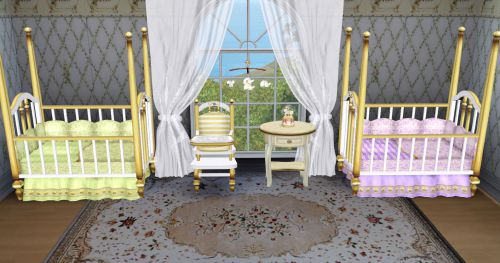 现代风格三居客厅原木色双胞胎婴儿床效果图