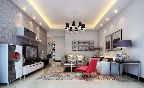 现代简约风格客厅电视背景墙壁纸装修图片