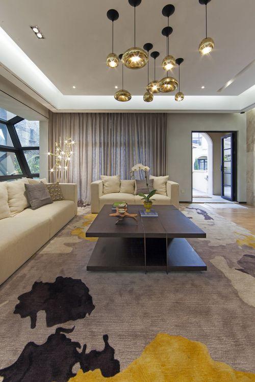 气质轻奢现代风格客厅装修实景图