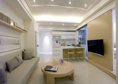 素雅干净现代风格客厅装修实景效果图