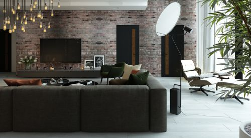 现代风黑灰别墅客厅装修效果图