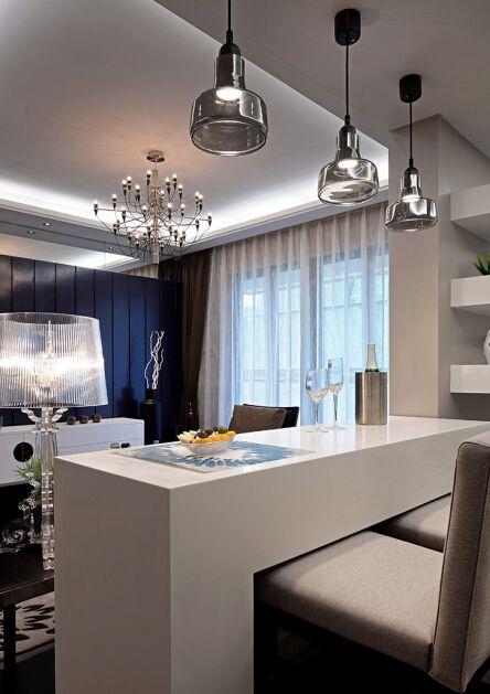 时尚简约现代风格客厅白色吧台装修设计