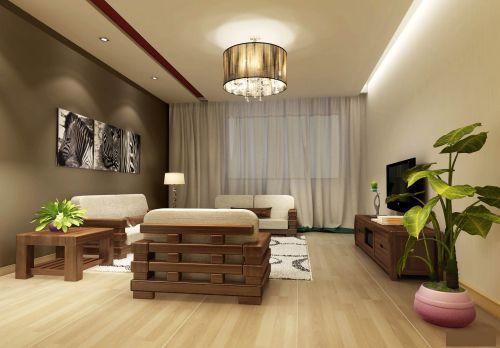 两居室简约风客厅装修原木色吊灯效果图
