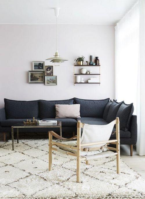 现代风格黑色清亮客厅沙发装修效果图