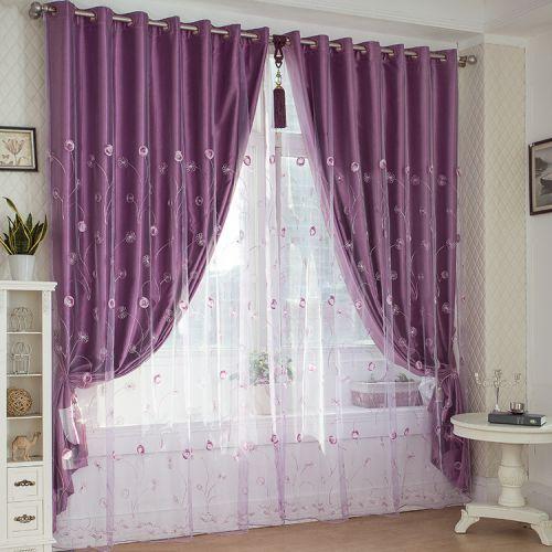 紫色高贵现代卧室窗帘效果图