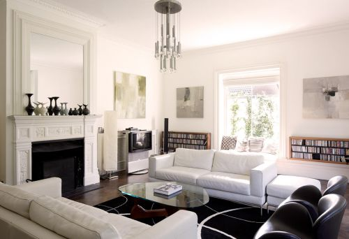 现代简约风格经典白色客厅效果图