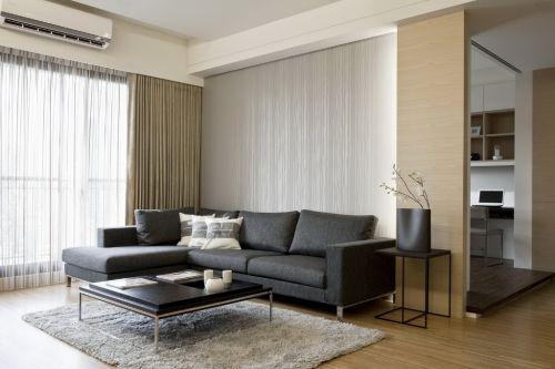 木质素雅现代风格黑色客厅沙发装修图片