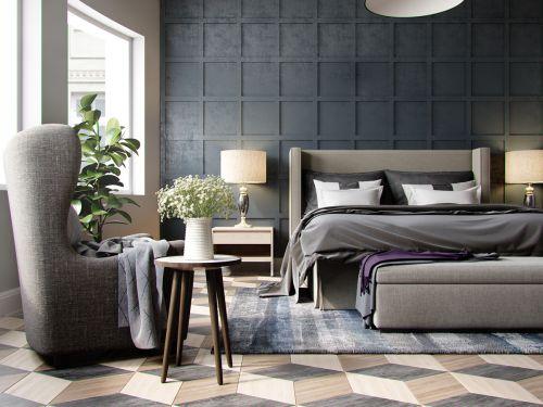 高挑空现代黑色方格背景墙卧室装修