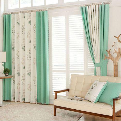 绿色白色现代简约客厅花纹窗帘效果图