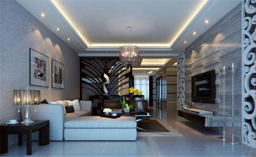 现代简约风格客厅沙发背景墙灰色壁纸效果图
