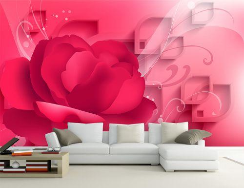 现代温馨浪漫红玫瑰客厅电视背景墙效果图