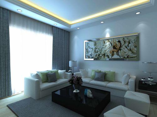 大气优雅现代简约风格客厅背景墙实景图