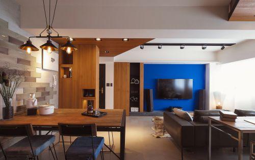 现代风三居客厅简约蓝色背景墙效果图
