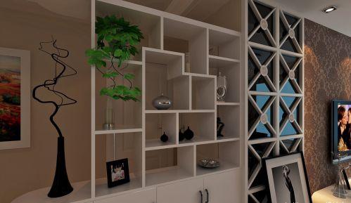 88平米白色现代简约客厅博古架装修效果图