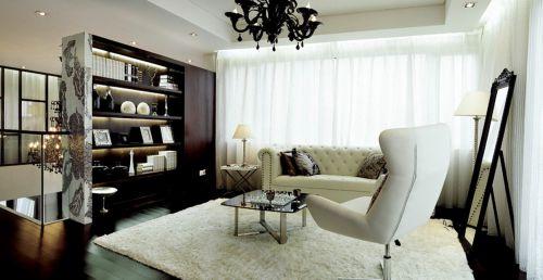 现代简约风格客厅黑色博古架装修效果图