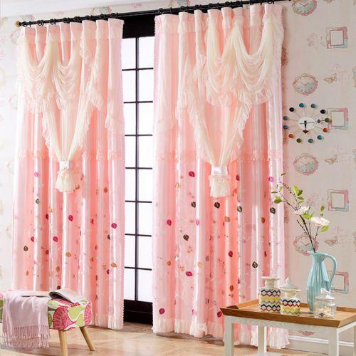 粉色现代蕾丝圆点客厅窗帘效果图