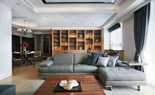 现代简约风格客厅原木色大气博古架效果图
