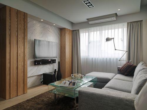 灰色系干净透彻现代客厅装修效果图