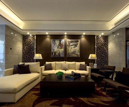 暗咖啡色现代风格客厅设计效果图