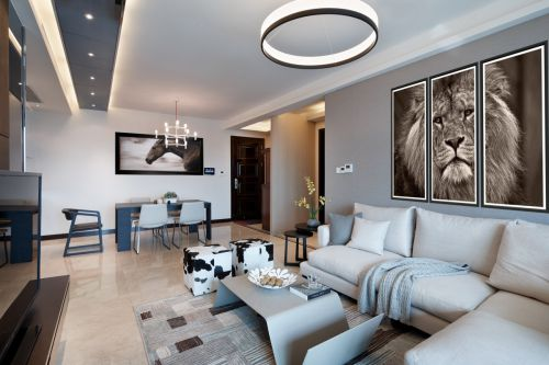 个性时尚现代风格客厅背景墙装修图片