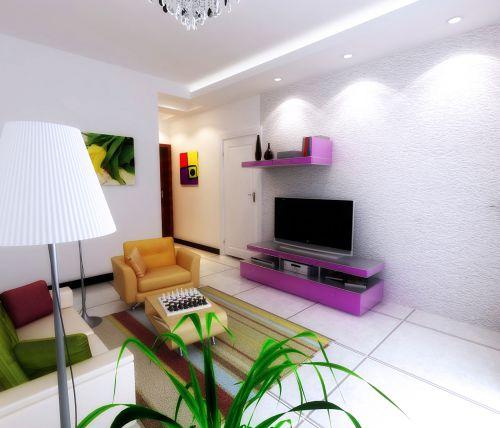 客厅现代简约紫色电视柜效果图设计