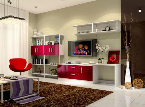 客厅现代风格红色电视柜装修效果图