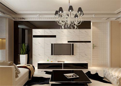 现代简约风格四居客厅白色艺术隐形门效果图