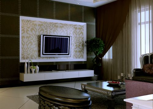 客厅现代简约纯白色电视柜效果图设计