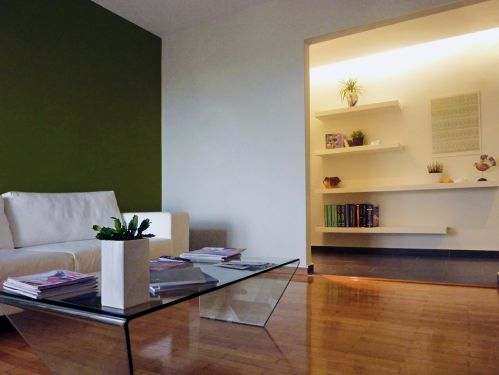 绿色现代简约客厅背景墙装修效果图