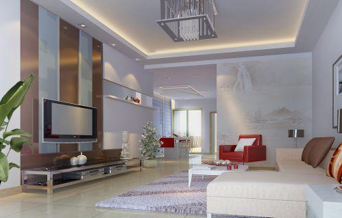 客厅现代简约风格灰色实用电视柜效果图