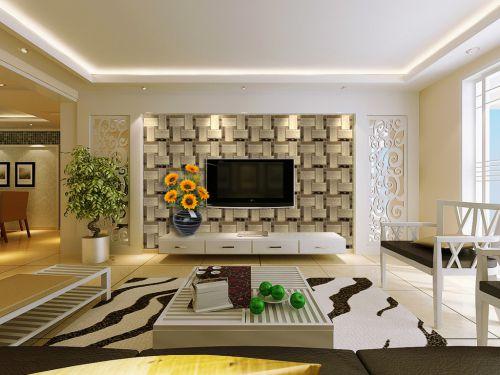 客厅现代风格白色电视柜装修设计