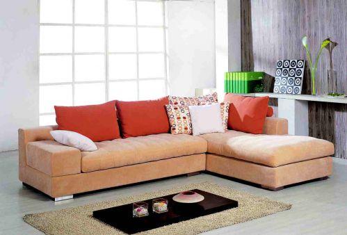 现代简约橙色客厅布艺沙发效果图