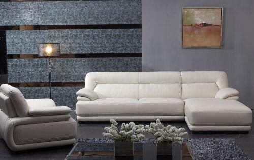 现代简约白色客厅真皮沙发效果图