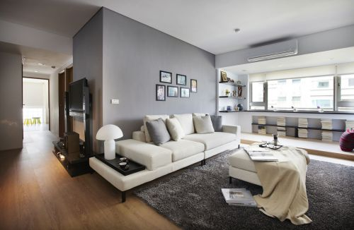 现代风格灰色调高雅客厅设计效果图