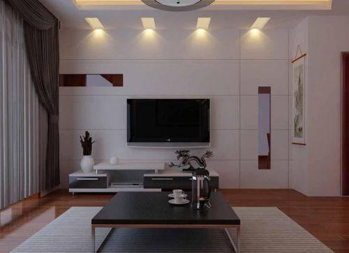 现代简约客厅白色隐形门装修效果图