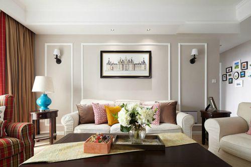 清新现代简约客厅照片墙装修效果图