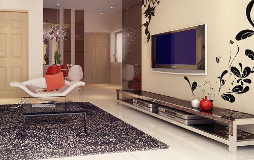 客厅现代简约灰色时尚电视柜效果图