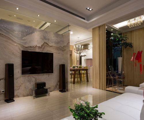米色系现代简约风格客厅装修效果图
