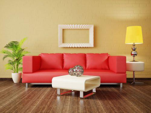 极简主义现代风格清新客厅红沙发效果图