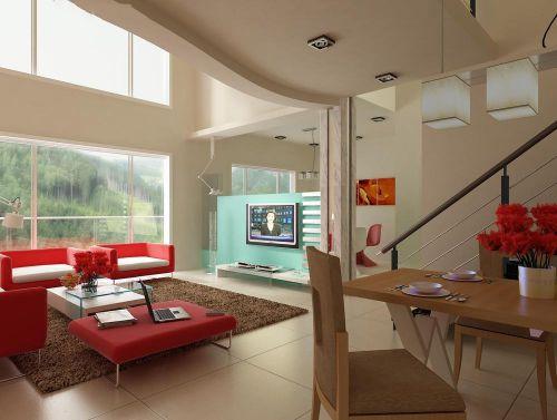 现代简约复式清新温暖客厅红沙发效果图