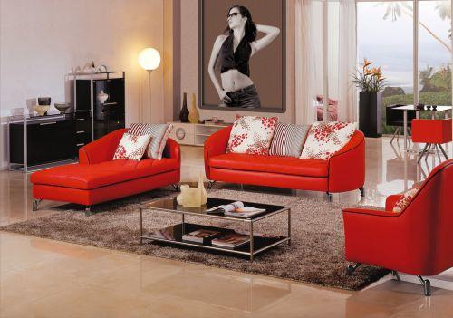 现代风格时尚别墅客厅红沙发效果图