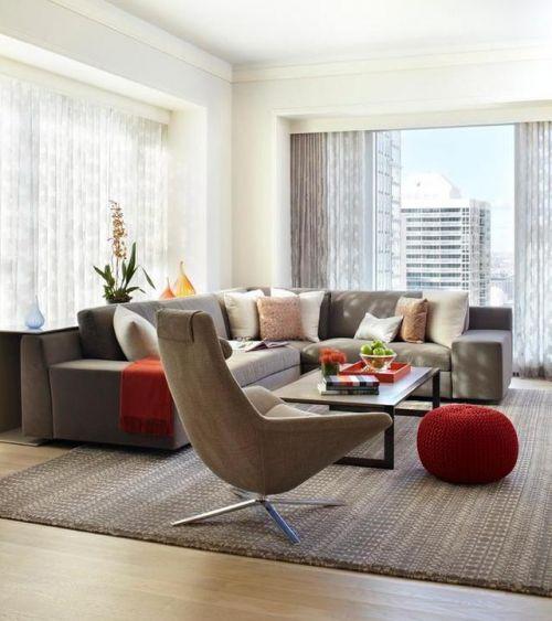 现代简约风格客厅茶几装修实景图