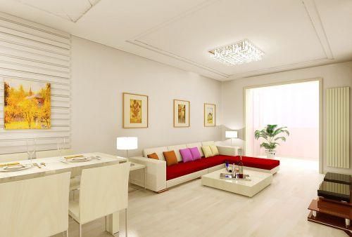 现代简约风格客厅米色照片墙装修效果图