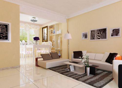 现代风格30平方客厅米色背景墙效果图