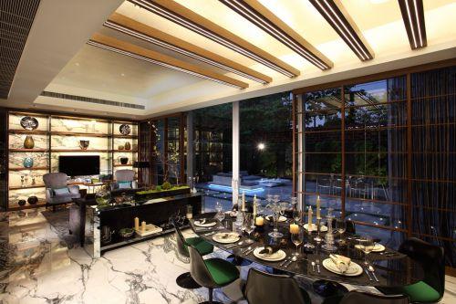 咖啡色系匠心独具现代简约风格客厅效果图
