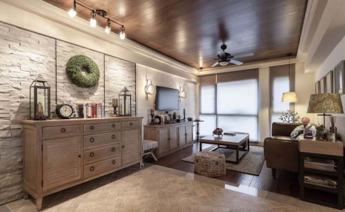 家装现代美式风格客厅背景墙装修图片