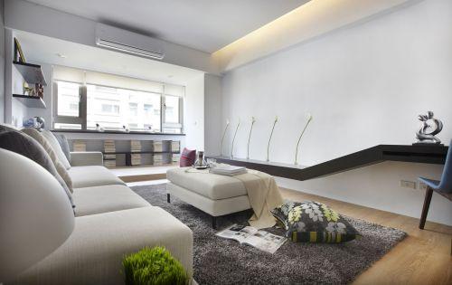 现代风格白色调客厅空间设计效果图
